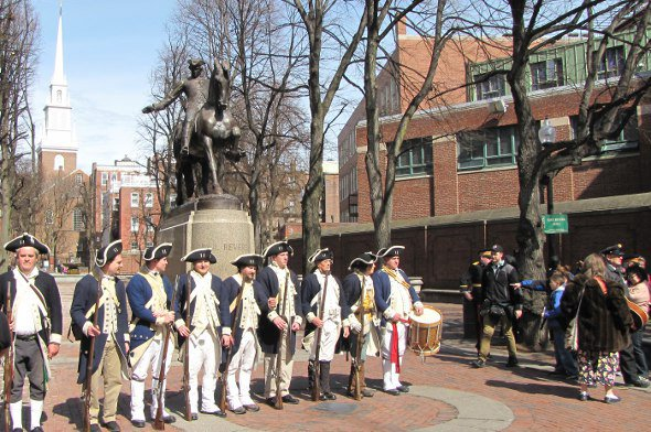 Minutemen at the Paul Revere statue in the North End.