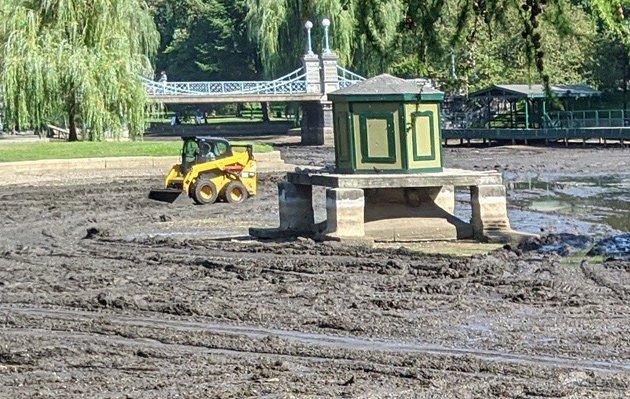 Scraping the bottom of the Public Garden Lagoon