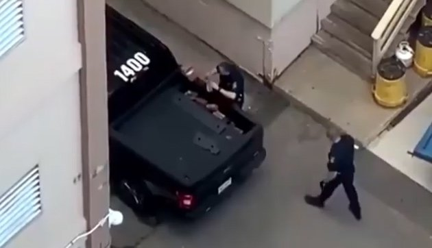 Northeastern cops with a pickup full of bricks