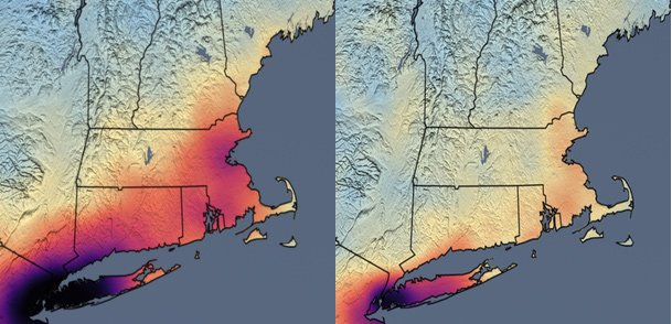 Before and after levels of nitrogen dioxide across the Northeast