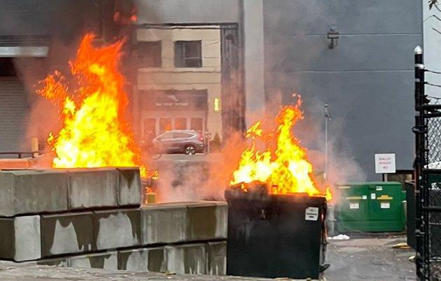 Dumpster fires behind Fenway Target
