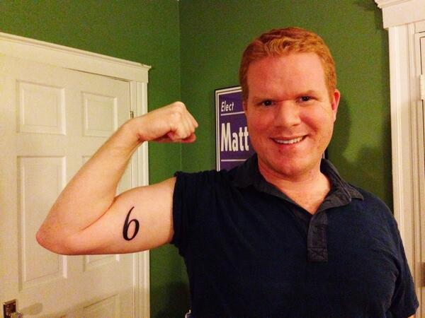 Matt O'Malley and his new 6 tattoo