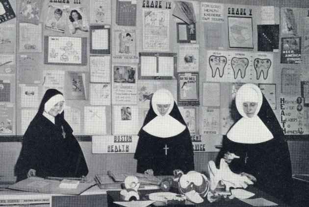 Three nuns in a classroom