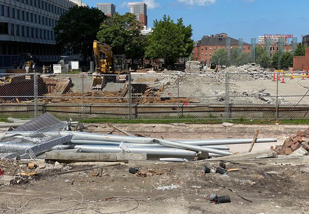 Work begins to re-do City Hall Plaza, starting at former fountain location