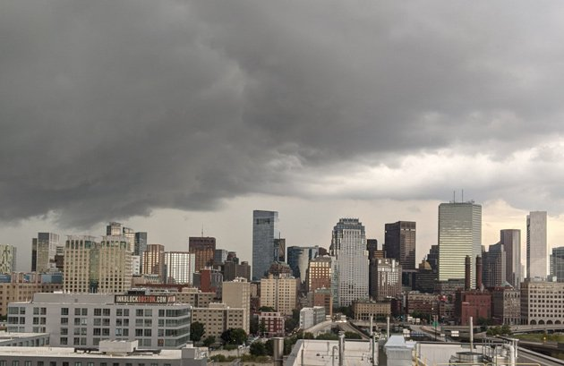 Storm cloud over downtown Boston