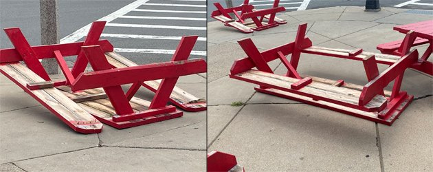 Canary Square tables overturned