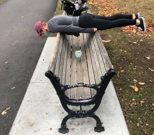 Planking the prank bench at Jamaica Pond