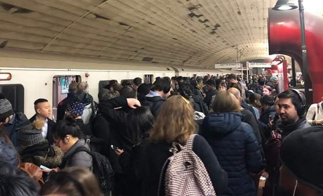 People dumped out of Red Line train at Porter Square