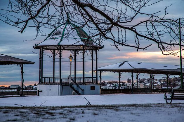Revere Beach gazebo at sunset after snow