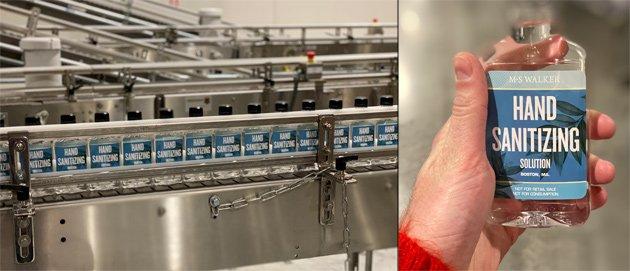 Sanitizer bottles being made