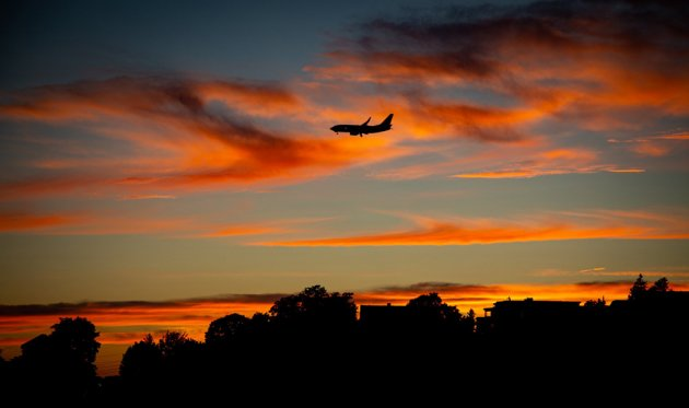 Plane at sunset over Winthrop