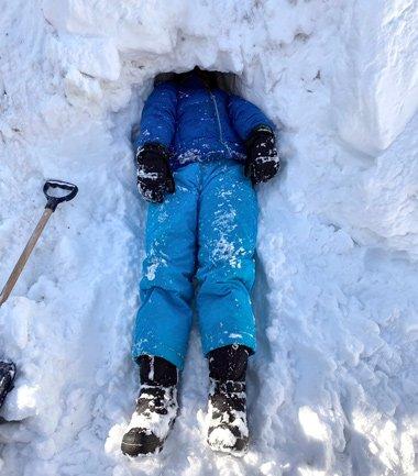 Kid in snow in December, 2020