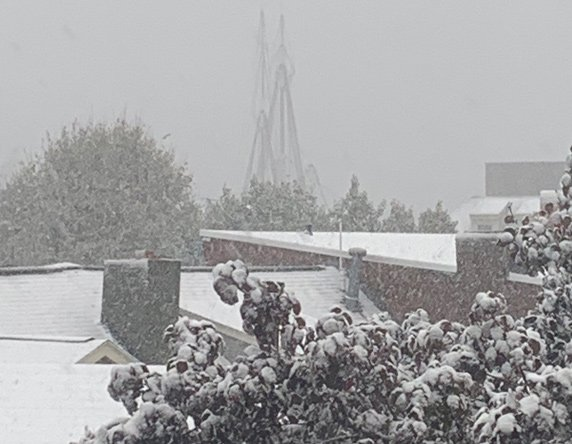 Masts of the USS Constitution in the snow