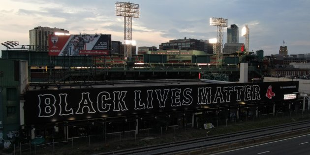 Black Lives Matter along the Fenway side of the turnpike