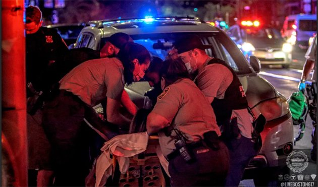 Working on the patient on Huntington Avenue