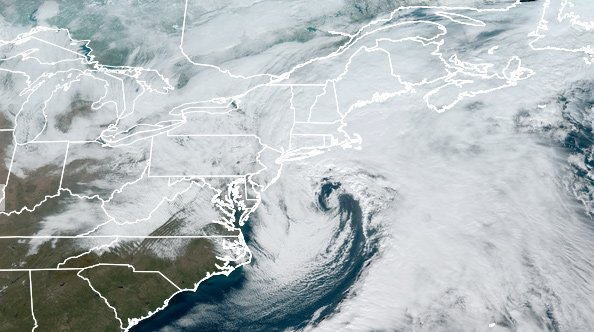 Satellite image of the nor'easter