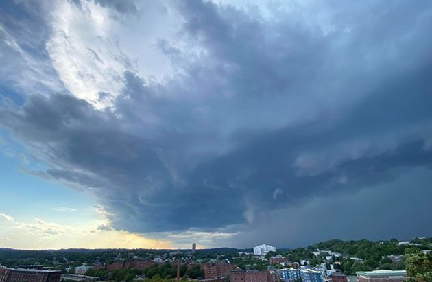 Storm moving in over Jamaica Plain