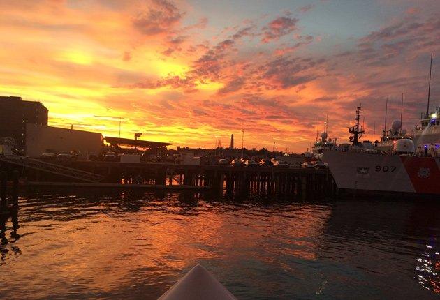 Sunset over inner Boston Harbor