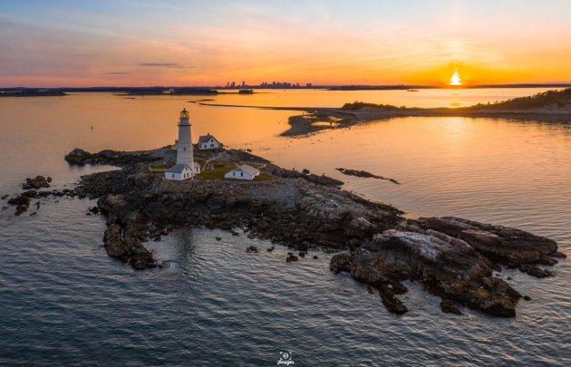 Sunset over Boston Light