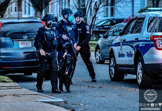Armored Boston police officers at the scene with a K-9.