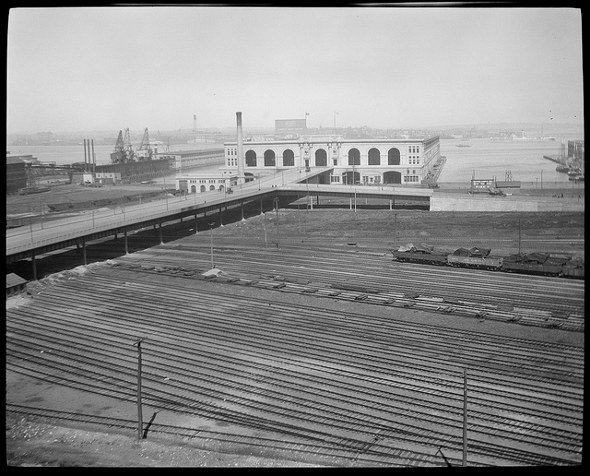 Old tracks in front of Commonwealth Pier