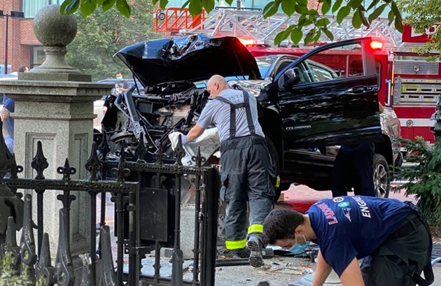 Smashed up truck at the Public Garden