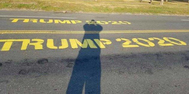 Trump graffiti on Day Boulevard in South Boston