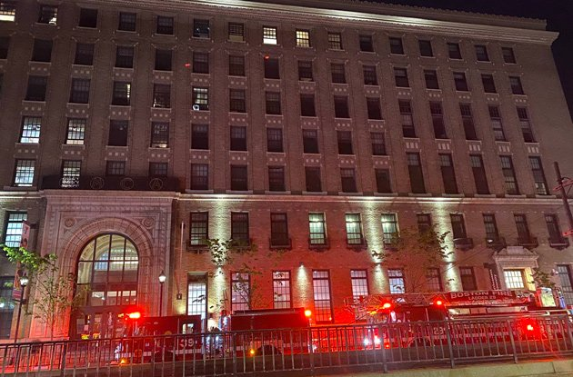 Firetrucks outside the YMCA on Huntington Avenue