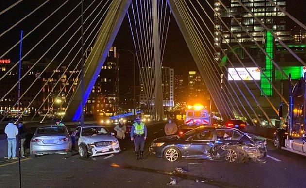 Car crash on the Zakim Bridge