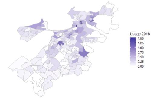 Airbnb usage in Boston areas in 2018