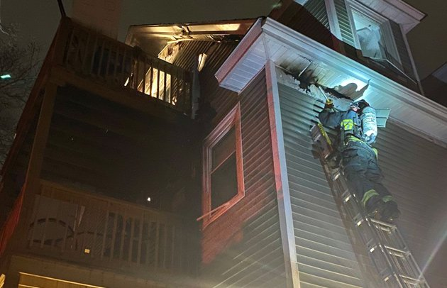 Firefighter battles fire on York Street