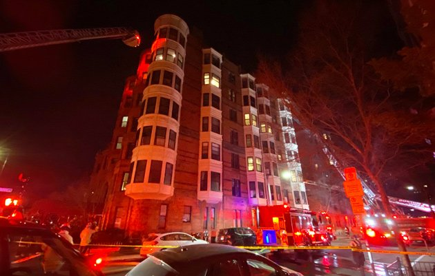 295-297 Beacon St. on fire