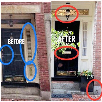 Front door with illegal bootscraper on Pinckney Street