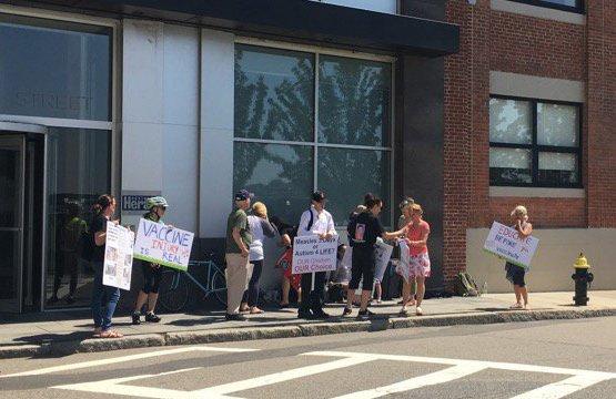 Anti-vaxxers outside the Boston Herald offices