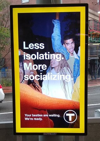 MBTA ad poster that calls for less isolating, more maskless partying