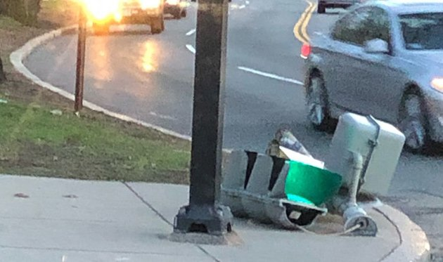Downed traffic light on the Jamaicaway