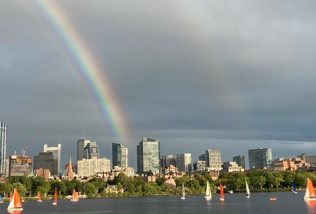 Rainbows over Boston and Charles River