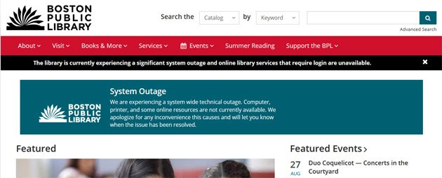 Boston Public Library site reports outage