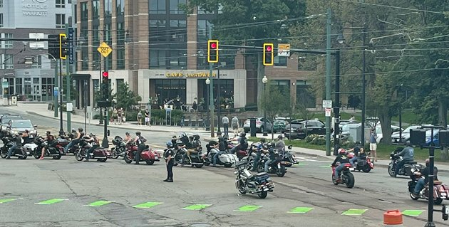 Motorcyclists in Cleveland Circle