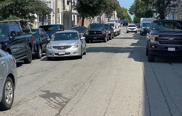 Double parking for street sweeping