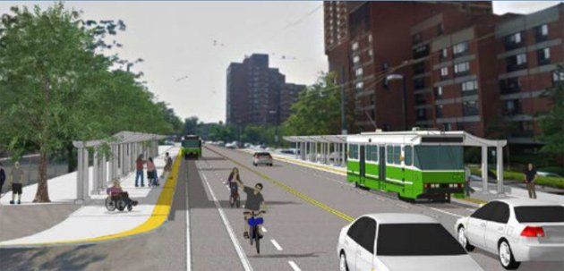 New look of Huntington Avenue with new transit and bike ways in one MBTA rendering