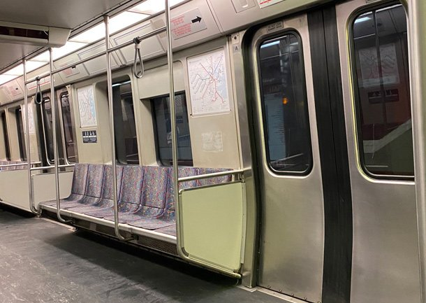 Red Line car with no riders, no ads