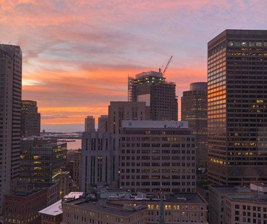 Sunrise over downtown Boston