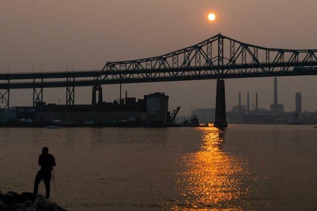 Hazy sunset over the Tobin Bridge