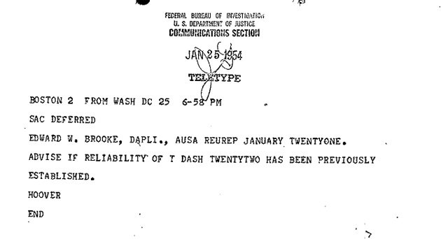 J. Edgar Hoover's note about an informant in the Brooke investigation