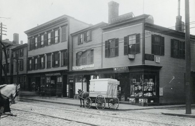 Street scene in old Boston, with horses