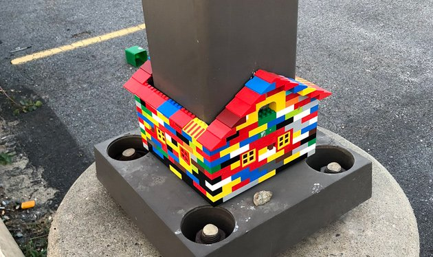 Lego house on Harborwalk along Fort Point Channel