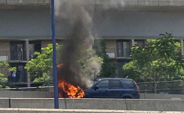 Flaming Honda SUV