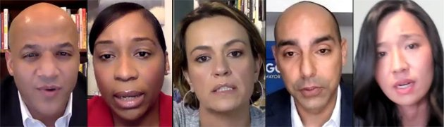 Boston mayoral candidates on Zoom.