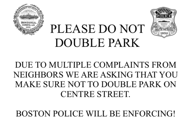 Police say: Stop double parking on Centre Street
